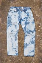21 Men Men's  Distressed Bleach Dye Jeans