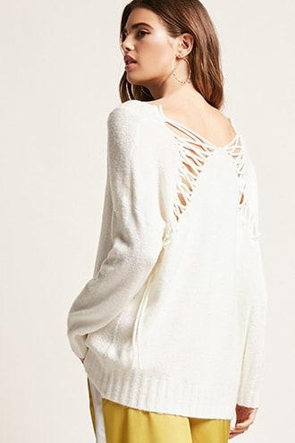 Forever21 Lace-up V-neck Sweater