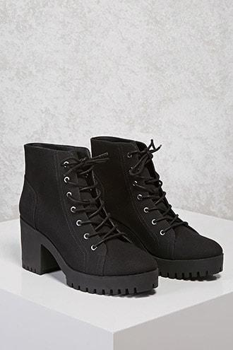 Forever21 Canvas Lug Ankle Boots