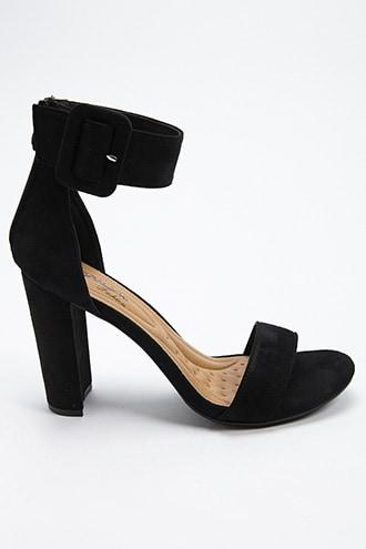 Forever21 Faux Suede Ankle Wrap Heel