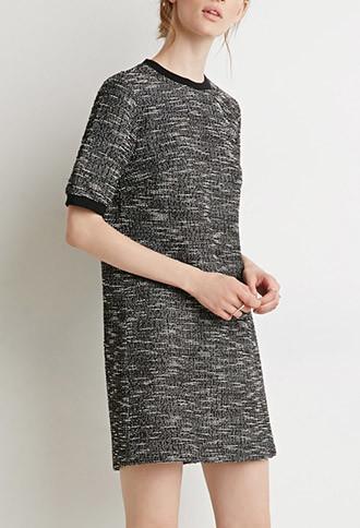 Love21 Women's  Boucle Ringer Shift Dress