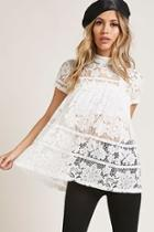 Forever21 Sheer Lace Babydoll Top