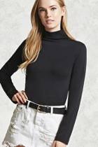 Forever21 Micro-ribbed Turtleneck Top