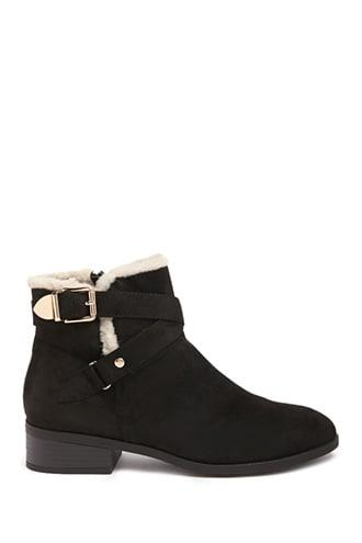 Forever21 Faux Shearling-trim Booties
