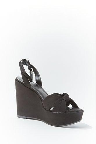 Forever21 Faux Suede Knot-front Wedges
