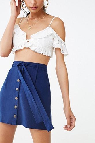 Forever21 Linen-blend Belted Mini Skirt
