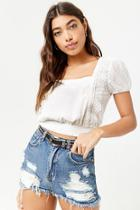 Forever21 Sheer Floral Embroidered Swiss Dot Top