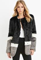 Love21 Colorblocked Faux Fur Coat