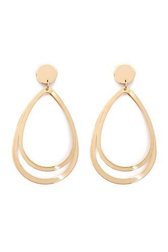 Forever21 Double Teardrop Hoop Drop Earrings