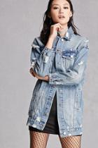 Forever21 Distressed Longline Denim Jacket