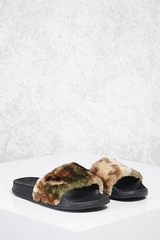 Forever21 Faux Fur Camo Print Slides