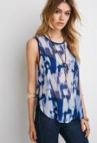 Forever21 Sheer Abstract Print Blouse