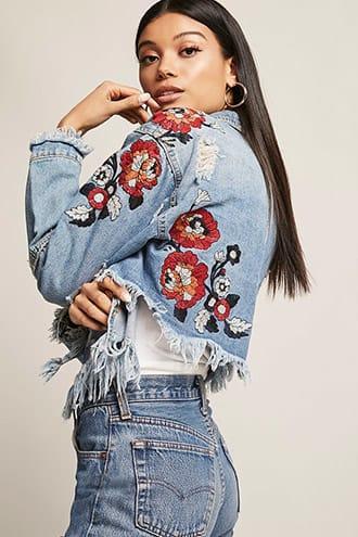 Forever21 Embroidered High-low Denim Jacket