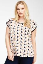 Forever21 Plus Size Triangle Print Chiffon Blouse