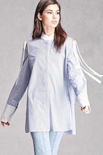 Forever21 Open-shoulder Pinstripe Shirt