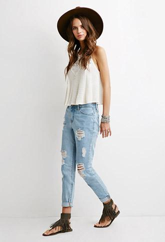 Forever 21 Distressed High-rise Jeans Light Denim 24