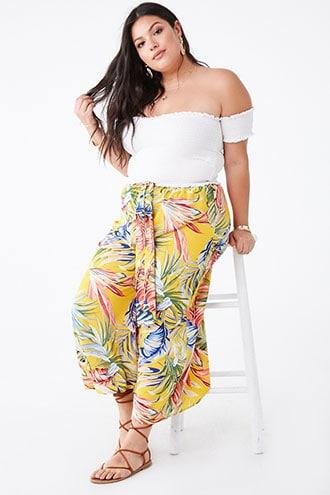 Forever21 Plus Size Tropical Palazzo Pants