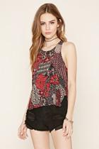 Forever21 Abstract Floral Print Top