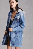 Forever21 Distressed Hooded Denim Jacket