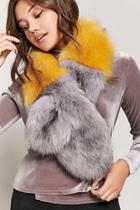 Forever21 Faux Fur Colorblock Scarf