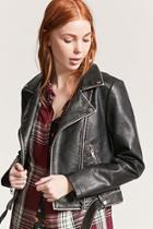 Forever21 Distressed Faux Leather Moto Jacket