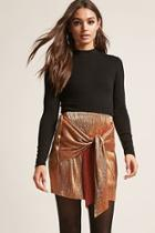 Forever21 Accordion Pleated Tie-front Skirt