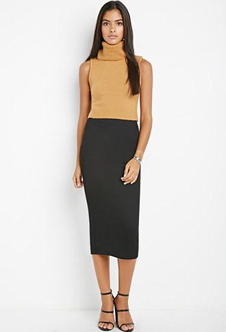 Love21 Ribbed Pencil Skirt