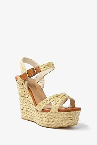 Forever21 Basketweave & Faux Leather Wedges