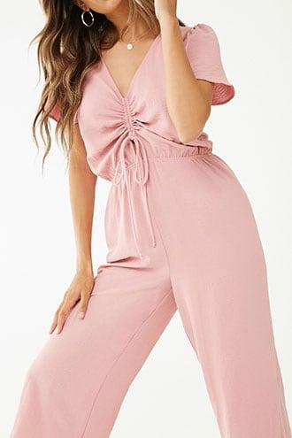 Forever21 Ruched Tie-front Jumpsuit
