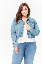 Forever21 Plus Size Distressed Cropped Denim Jacket