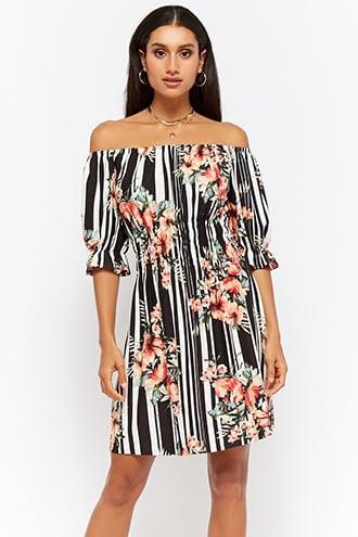 Forever21 Striped Floral Off-the-shoulder Dress