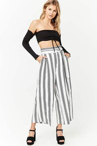 Forever21 Striped High-rise Culottes