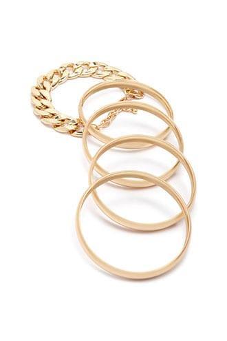 Forever21 Solid Bangle & Chain Bracelet Set