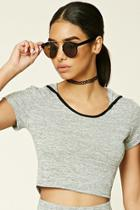Forever21 Women's  Marled Knit Hooded Crop Top