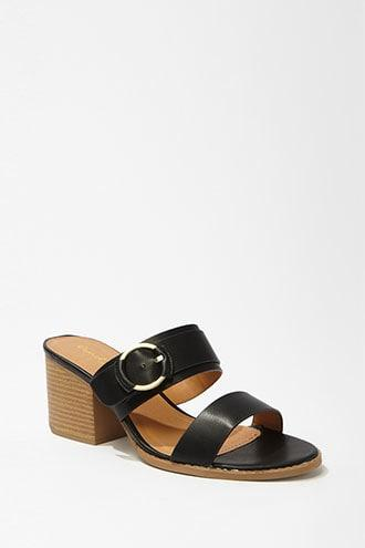 Forever21 Qupid Faux Leather Buckle Slide Heels
