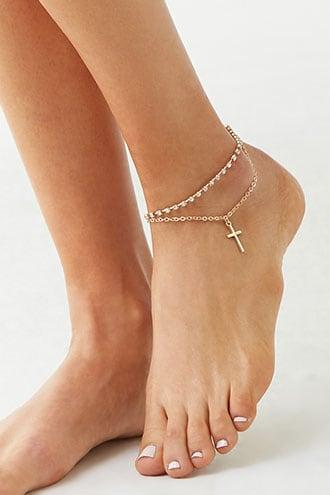 Forever21 Cross Pendant & Rhinestone Chain Anklet Set