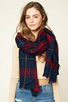 Forever21 Frayed Plaid Oblong Scarf