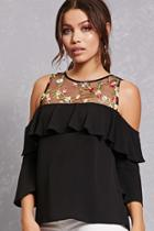 Forever21 Floral Embroidered Illusion Top