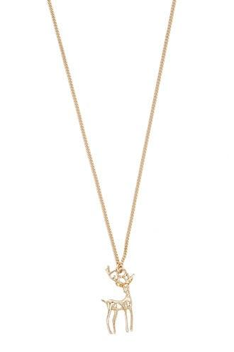 Forever21 Reindeer Pendant Chain Necklace