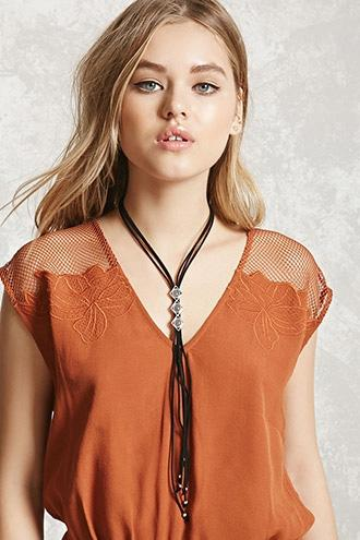 Forever21 Faux Suede Geo Pendant Choker