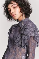 Forever21 Sheer Metallic Lace Top