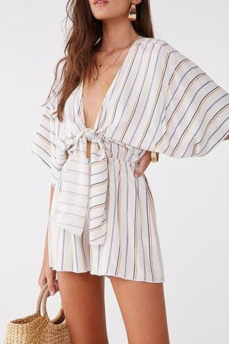 Forever21 Striped Linen-blend Cutout Tie-front Romper
