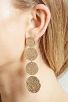 Forever21 Etched Disc Drop Earrings