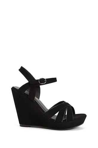 Forever21 Caged Faux Nubuck Leather Wedges