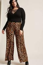 Forever21 Plus Size Leopard Print Palazzo Pants