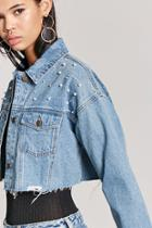 Forever21 Distressed Cropped Denim Jacket