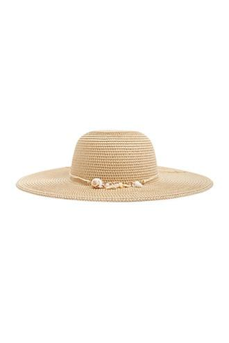 Forever21 Seashell Charm Floppy Straw Hat