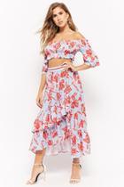 Forever21 Floral Print Crop Top & Skirt Set