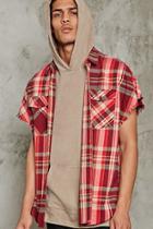 Forever21 Frayed Sleeveless Flannel Shirt