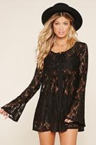 Love21 Women's  Sheer Floral Lace Dress